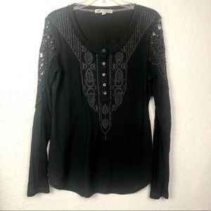 Jolt Waffle Knit Thermal Top Black Embroidered LG